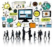 Geschäftsleute Webdesign-Inhalts-Partnerschafts-Konzept- lizenzfreie stockfotos