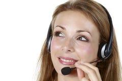 Geschäftsmädchen mit einem Mikrofon Stockfotografie