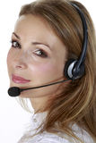 Geschäftsmädchen mit einem Mikrofon Lizenzfreies Stockbild