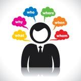 Geschäftsmänner analysieren das Wort Lizenzfreies Stockbild