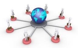 Geschäftsmänner angeschlossen an die Welt Stockbilder