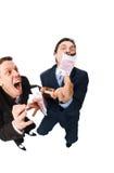 Geschäftsmänner, die 500 Euro brennen Lizenzfreie Stockfotografie