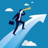 Geschäftsmänner, die auf Erfolgs-Pfeil-Konzept fahren Stockbilder