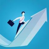 Geschäftsmänner, die auf Erfolgs-Pfeil-Konzept surfen Stockfoto