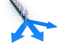 Geschäftsmänner, die auf ihre Drehung warten, um Richtung zu wählen Stockbild