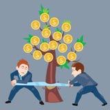 Geschäftsmänner, die Geldbaum sägen Stockbild