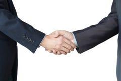 Geschäftsmänner, die Hände auf weißem Isolathintergrund rütteln Doppeltes ex Lizenzfreie Stockfotos