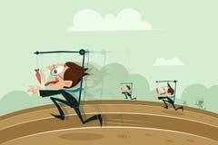 Geschäftsmänner, die mit hängender Karotte laufen lizenzfreie abbildung