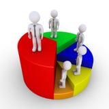 Geschäftsmänner, die oben Sieger auf Kreisdiagramm betrachten Lizenzfreie Stockfotos