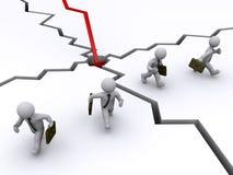 Geschäftsmänner, die weg vom Diagrammsystemabsturz laufen Stockbild