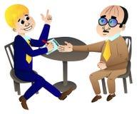 Geschäftsmänner, die Zeichentrickfilm-Figuren eines Abkommen Vektors machen lizenzfreie abbildung