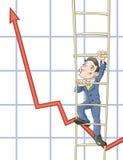 Geschäftsmänner klettert oben auf einer Leiter Stockfotos