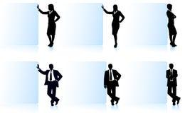 Geschäftsmänner mit Fahnen Stockfotografie