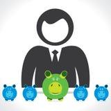 Geschäftsmänner mit piggy Querneigung Lizenzfreie Stockfotos