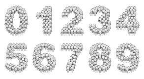 Geschäftsmänner nummeriert 0 bis 9 Lizenzfreies Stockbild