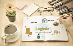 Geschäftsmänner planen über Logistik Stockfoto