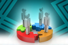 Geschäftsmänner stehen auf verschiedenen farbigen Puzzlespielstücken Lizenzfreie Stockfotos