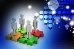 Geschäftsmänner stehen auf verschiedenen farbigen Puzzlespielstücken Stockbilder