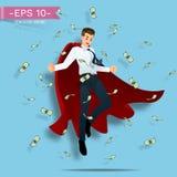 Geschäftsmänner tragen ein rotes Kapfliegen in der Luft mit vielen Banknoten Lizenzfreies Stockfoto