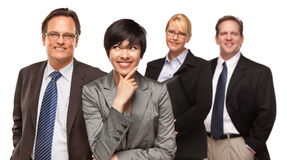 Geschäftsmänner und Geschäftsfrauen auf Weiß Stockfoto