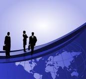 Geschäftsmänner und Weltkarte Stockfotos