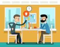 Geschäftsmänner, welche die Strategie sitzt am Schreibtisch besprechen Vektorillustration in der flachen Art stock abbildung