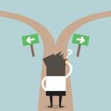 Geschäftsmänner zögern, Weg zu wählen Entscheidungskonzept Stockfoto