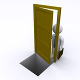 Geschäftsmann öffnet eine Tür mit Gefahr Lizenzfreie Stockfotografie