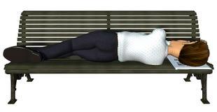 Geschäftsmann 3d, der auf der Bank schläft Stockbilder