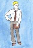 Geschäftsmann-Aquarellzeichnen lizenzfreie abbildung