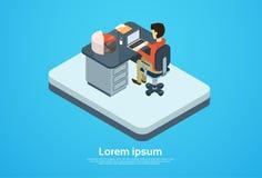 Geschäftsmann-Arbeits-Computer-Laptop-Arbeitsplatz-Kopien-Raum 3d isometrisch Lizenzfreie Stockfotos