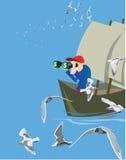 Geschäftsmann auf Boot Stockfotos