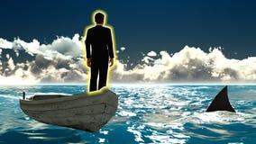 Geschäftsmann auf Boot u. Haifisch Stockfotos