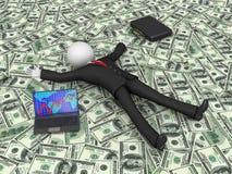 Geschäftsmann auf dem Dollar Lizenzfreie Stockfotografie