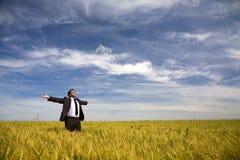 Geschäftsmann auf dem landwirtschaftlichen Gebiet Stockfotografie