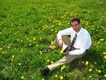 Geschäftsmann auf dem Rasen Stockfotografie