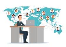 Geschäftsmann auf der ganzen Welt angeschlossen mit seinem Freund Geschäft vektor abbildung