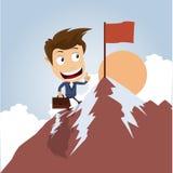 Geschäftsmann auf die Oberseite eines Berges Stockbilder
