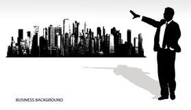 Geschäftsmann auf einem abstrakten Hintergrund Lizenzfreies Stockfoto