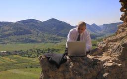 Geschäftsmann auf einem Computer draußen Stockfotos