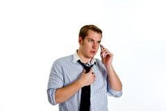 Geschäftsmann auf einem Handy Lizenzfreie Stockfotografie