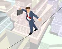 Geschäftsmann auf einem Seil Stockbilder