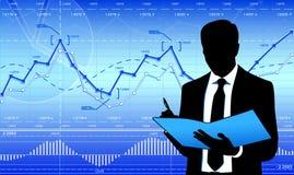 Geschäftsmann auf Finanzhintergrund Lizenzfreie Stockfotos