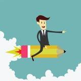 Geschäftsmann auf Raketenbleistift Stockfotografie