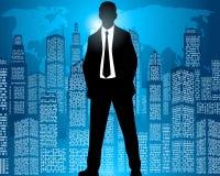 Geschäftsmann auf Stadthintergrund Lizenzfreies Stockbild