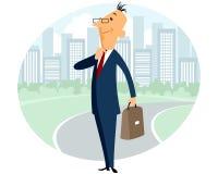 Geschäftsmann auf Stadthintergrund Stockbilder