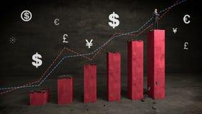 Geschäftsmann auf Zunahmebalkendiagramm mit Geldzeichen und Pfeil, steigender Markt lizenzfreie abbildung