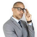 Geschäftsmann-Augenglas Konzept der afrikanischen Abstammung stockfoto