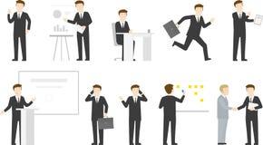 Geschäftsmann-Bürolebenzeichensatz Stockbilder