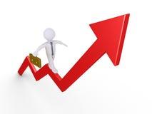 Geschäftsmann balanciert auf Diagramm Stockfoto